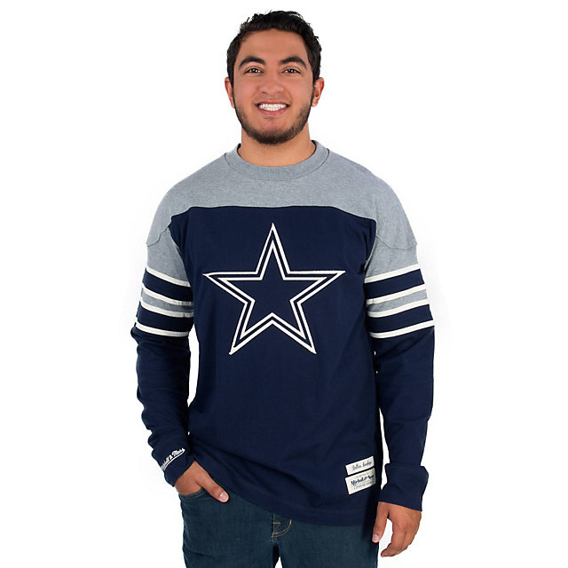 Dallas Cowboys Mitchell & Ness Pumpfake Long Sleeve Crew