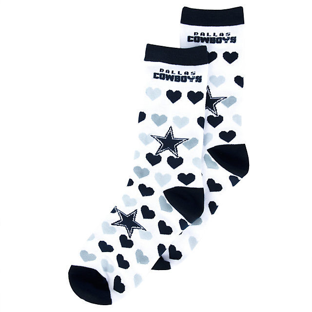Dallas Cowboys Heart Logo Repeat Crew Socks