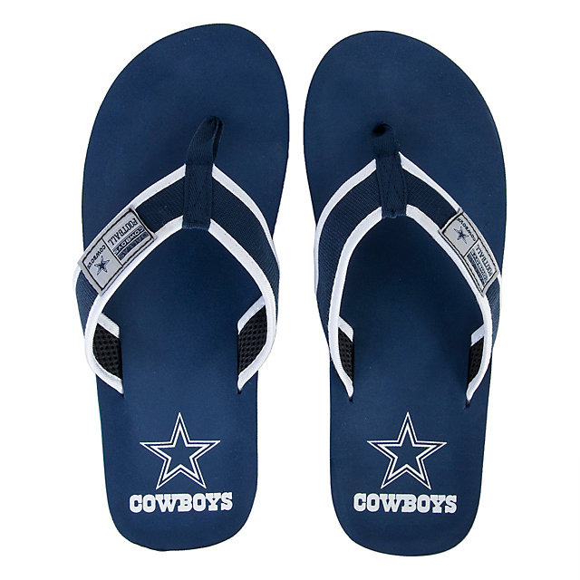 Dallas Cowboys Men's Locker Label Contour Flip Flops