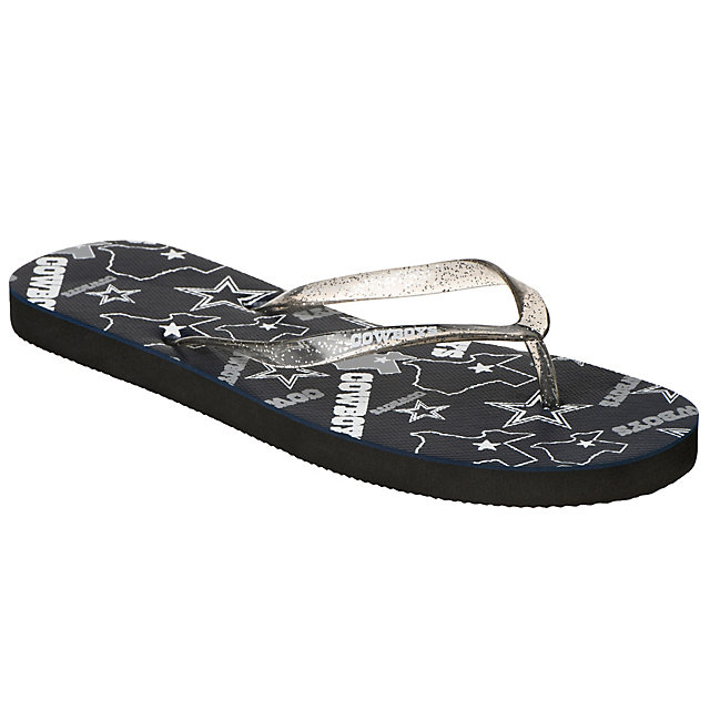 Dallas Cowboys Women's Glitter Logo Flip Flops