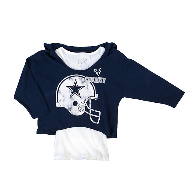 Dallas Cowboys Justice Hooded Crop Helmet Tee