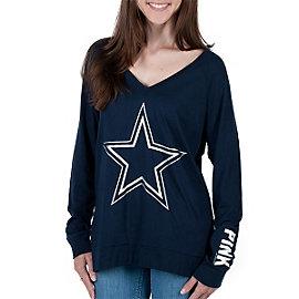 Dallas Cowboys PINK V-Neck Raglan