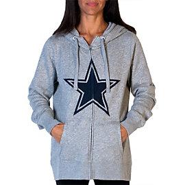 Dallas Cowboys PINK Full Zip Funnel Neck Hoodie