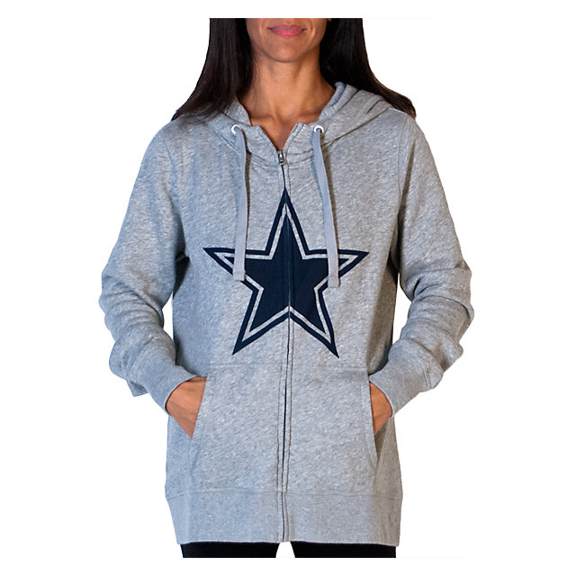 Dallas Cowboys PINK Full Zip Funnel Neck Hoodie