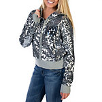 Dallas Cowboys PINK MVP Sequined Full Zip Hoodie