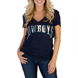 Dallas Cowboys PINK Bling V-Neck Tee