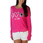 Dallas Cowboys Peace Love World Bright Pink Crew