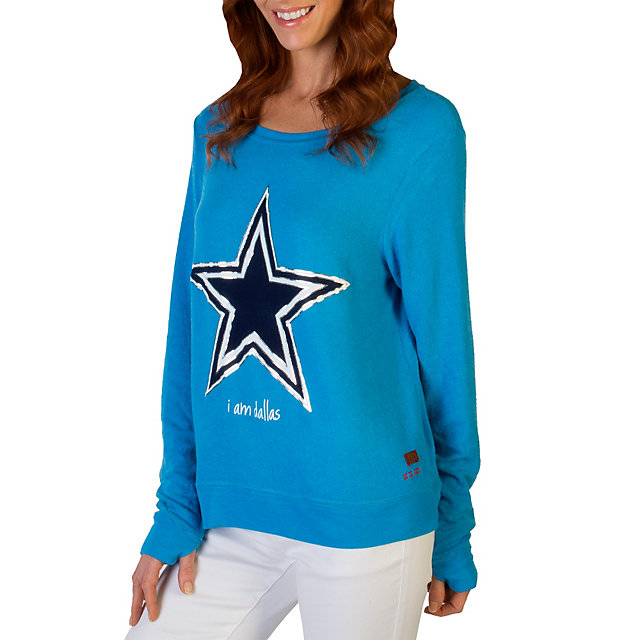 Dallas Cowboys Peace Love World Bright Blue Crew