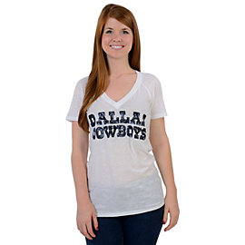 Dallas Cowboys PINK Raglan V-Neck Tee