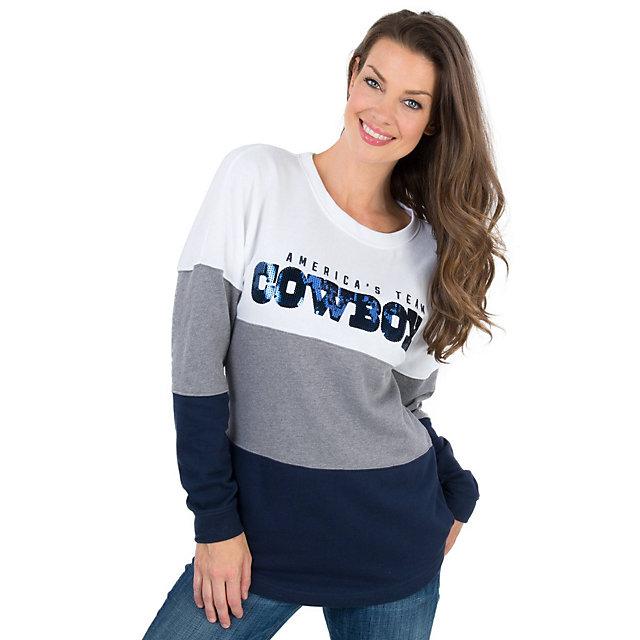 Dallas Cowboys PINK Bling Pierced Varsity Crew