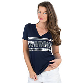 Dallas Cowboys PINK Bling Fitted V-Neck Tee