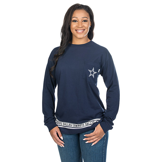 Dallas Cowboys PINK Campus Long Sleeve Pocket Tee