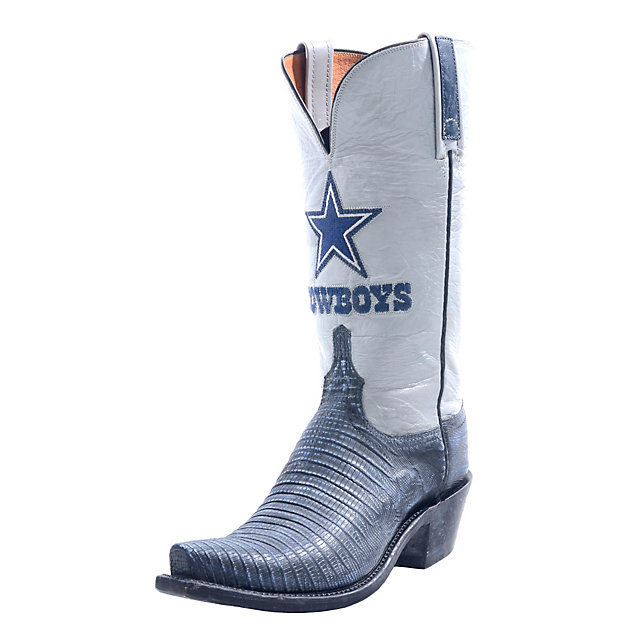 Dallas Cowboys Lucchese Womens Stonewash Navy Lizard Boot - Width B