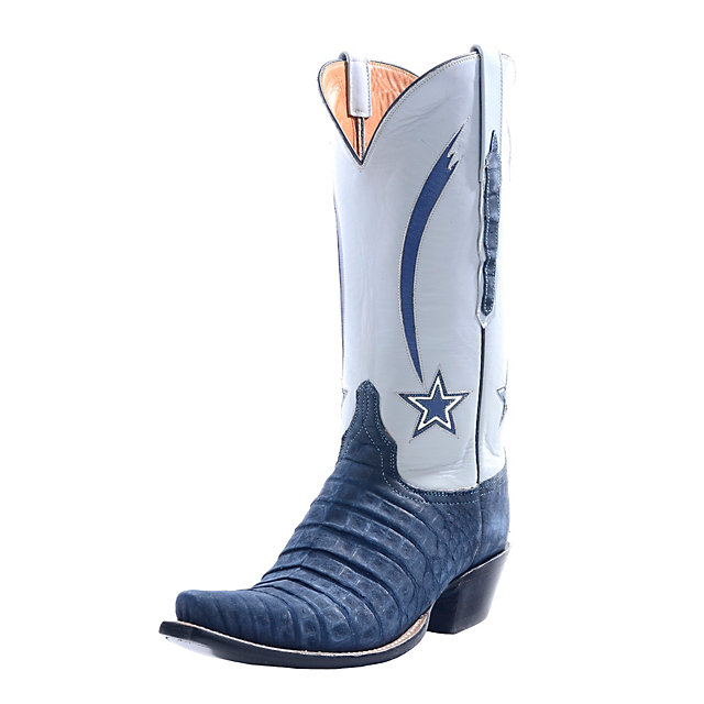Dallas Cowboys Lucchese Womens Navy Suede Caiman Crocodile Boot - Width B