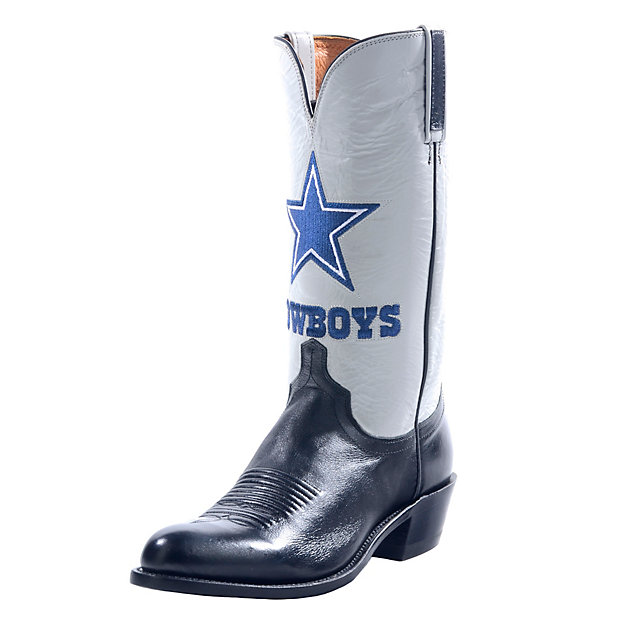 Dallas Cowboys Lucchese Mens Black Lone Star Boot - Width D