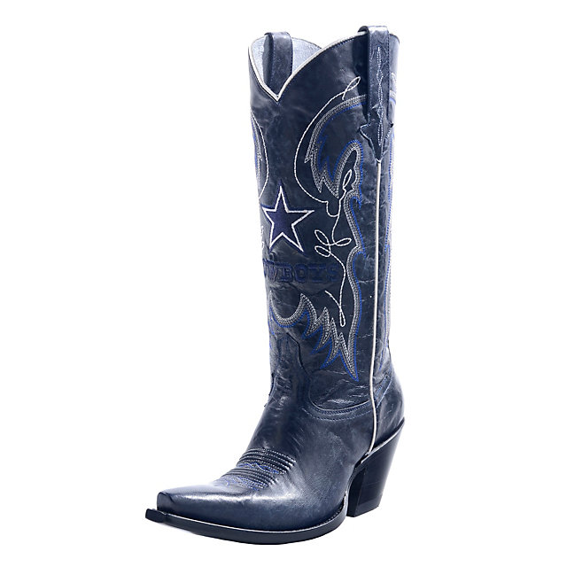 Dallas Cowboys Lucchese Womens Navy Calf Fashion Boot - Width B
