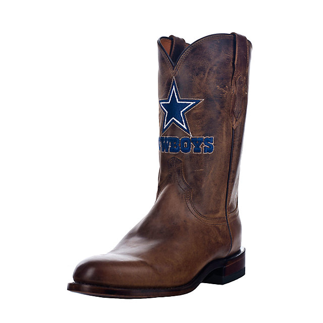 Dallas Cowboys Lucchese Mens Tan Madras Roper Boot - Width EE