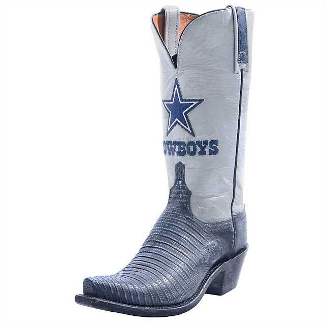 Dallas Cowboys Lucchese Mens Navy Stonewash Lizard Boot - Width D
