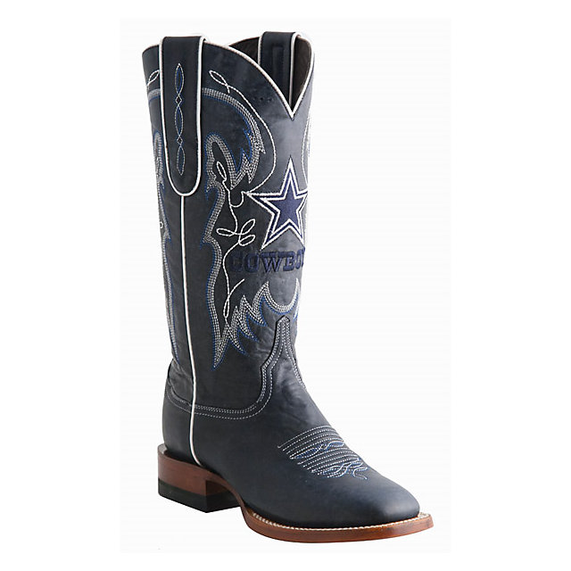 Dallas Cowboys Lucchese Womens Navy Square Toe Boot