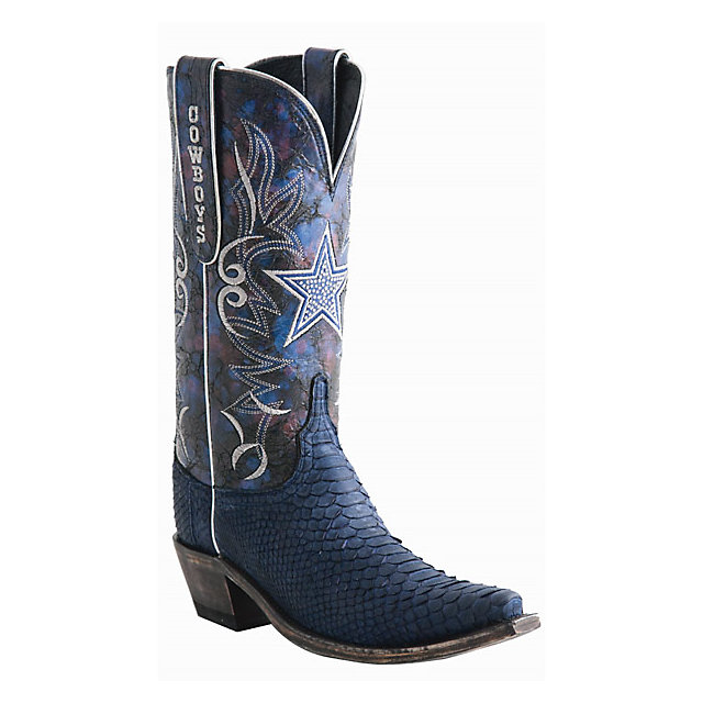 Dallas Cowboys Lucchese Womens Sueded Python Swarovski Boot - Width B