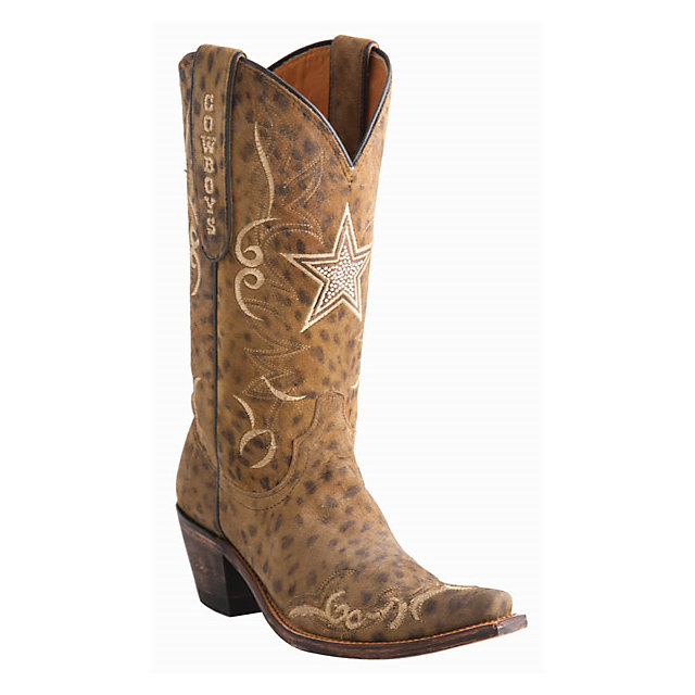 Dallas Cowboys Lucchese Womens Camel Cheetah Swarovski Boot - Width B