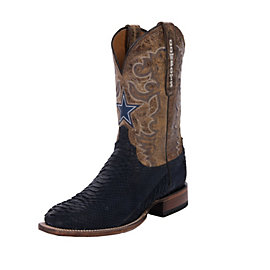 Dallas Cowboys Lucchese Mens Navy Suede Python Boot - Width D