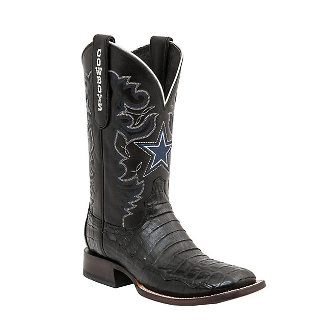 Dallas Cowboys Lucchese Mens Black Caiman Boot - Width D
