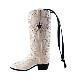Dallas Cowboys White Boot Ornament