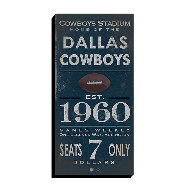 Dallas Cowboys Canvas Art - Vintage Ticket 10x20