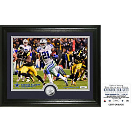 "Dallas Cowboys Ezekiel Elliott ""Game Winning Touchdown"" Silver Coin Photo Mint"