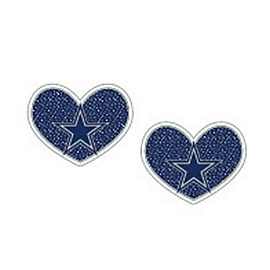 Dallas Cowboys Glitter Heart Earrings