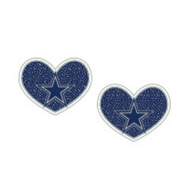 Dallas Cowboys Glitter Heart Earrings