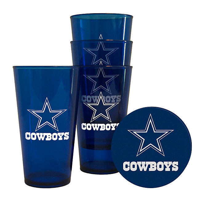 Dallas Cowboys 4 Pack Plastic Pint with Coaster Set
