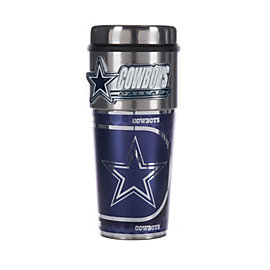 Dallas Cowboys 16 oz Platinum Tumbler With Metal Logo