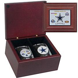 Dallas Cowboys 5-Time Super Bowl Champs Keepsake Box with Shot Glass Set