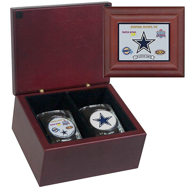 Dallas Cowboys 5-Time Super Bowl Champs Keepsake Box with Shot Glass Set