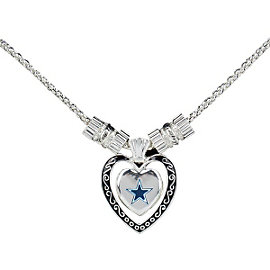 Dallas Cowboys Silver Plated Heart Star Necklace