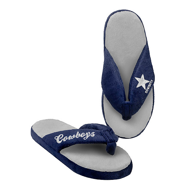 Dallas Cowboys Womens Glitter Thong Flip Flop Slippers