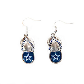 Dallas Cowboys Flip Flop Crystal Earrings