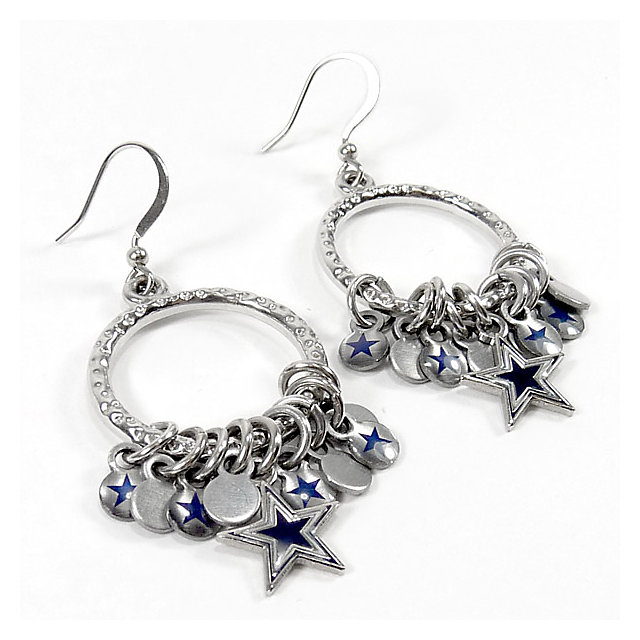 dallas cowboys hoop earrings with charms jewelry. Black Bedroom Furniture Sets. Home Design Ideas