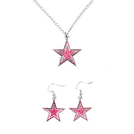 Dallas Cowboys Pink Glitter Star Necklace and Earrings Set