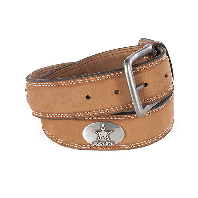Dallas Cowboys Mens Crazy Horse Leather Concho Belt