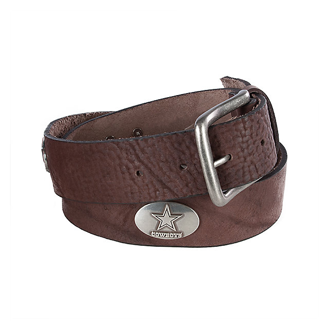 Dallas Cowboys Mens Brown Leather Concho Belt