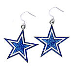 Dallas Cowboys Glitter Star Dangler Earrings