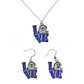 Dallas Cowboys Love Helmet Necklace and Earring Set