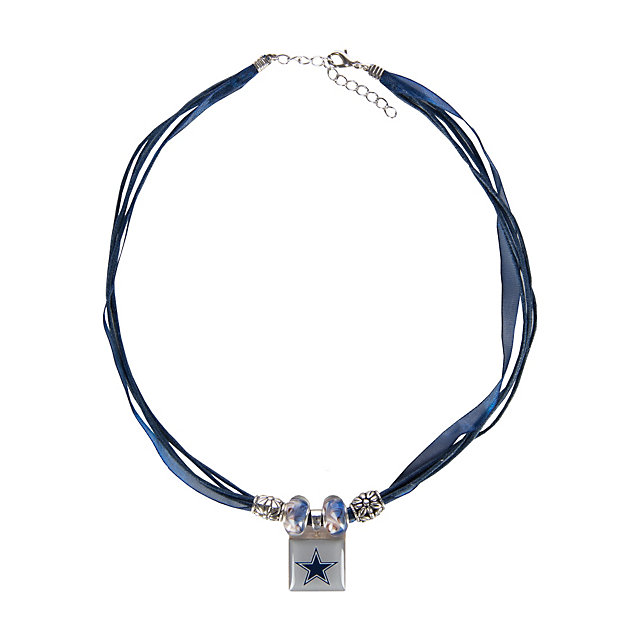 Dallas Cowboys Lifetiles Ribbon and Beads Necklace