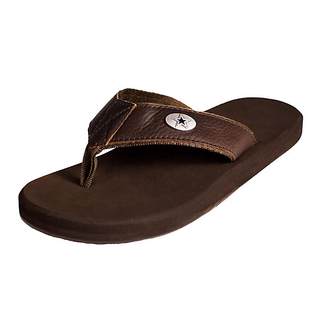 Dallas Cowboys Mens Premium Leather Flip Flops