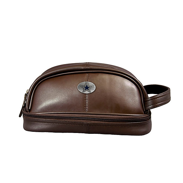 Dallas Cowboys Brown Leather Dopp Kit