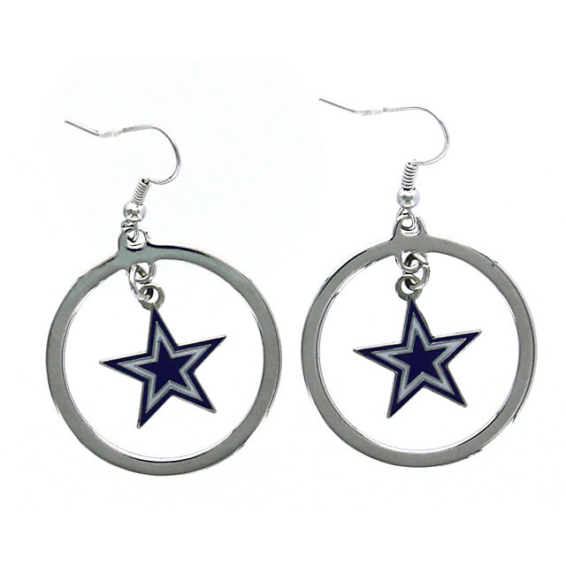 Dallas Cowboys Floating Logo Hoop Earrings