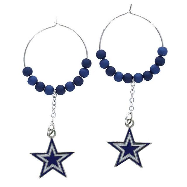 Dallas Cowboys Beaded Hoop Earrings